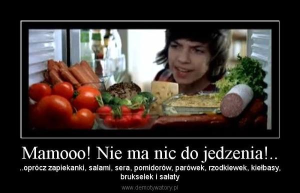 Mamooo! Nie ma nic do jedzenia!.. – ..oprócz zapiekanki, salami, sera, pomidorów, parówek, rzodkiewek, kiełbasy,brukselek i sałaty
