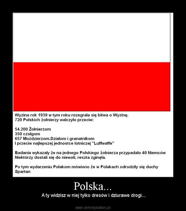 Polska... –  A ty widzisz w niej tylko dresów i dziurawe drogi...
