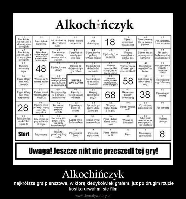 Alkochińczyk – najkrótsza gra planszowa, w ktorą kiedykolwiek grałem. juz po drugim rzuciekostka urwał mi sie film