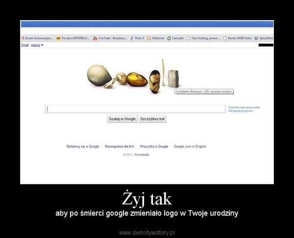 Żyj tak – aby po śmierci google zmieniało logo w Twoje urodziny