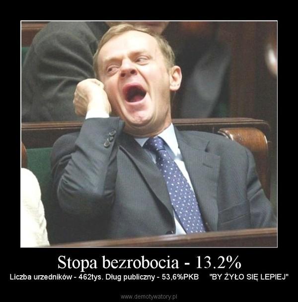 """Stopa bezrobocia - 13.2% – Liczba urzedników - 462tys. Dług publiczny - 53,6%PKB     """"BY ŻYŁO SIĘ LEPIEJ"""""""