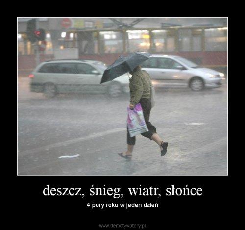 deszcz, śnieg, wiatr, słońce