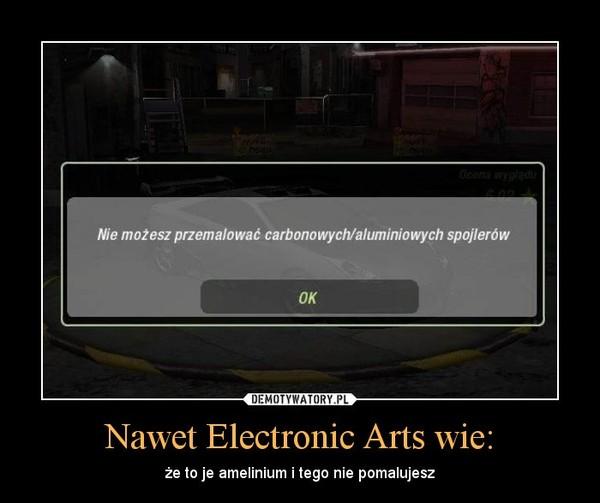 Nawet Electronic Arts wie: – że to je amelinium i tego nie pomalujesz
