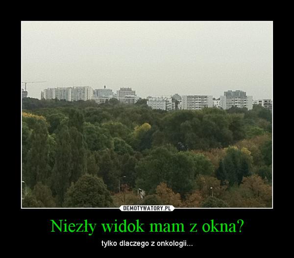 Niezły widok mam z okna? – tylko dlaczego z onkologii...