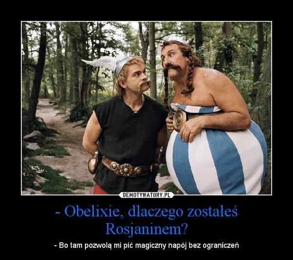 - Obelixie, dlaczego zostałeś Rosjaninem? – - Bo tam pozwolą mi pić magiczny napój bez ograniczeń