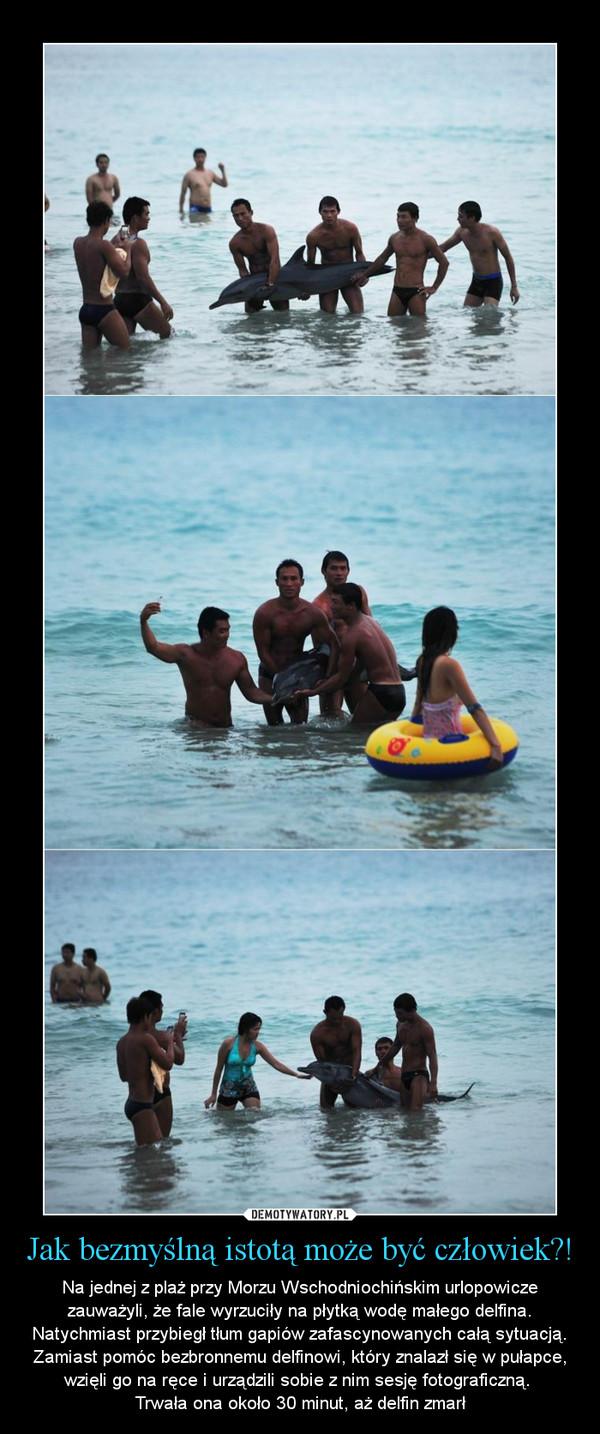 Jak bezmyślną istotą może być człowiek?! – Na jednej z plaż przy Morzu Wschodniochińskim urlopowicze zauważyli, że fale wyrzuciły na płytką wodę małego delfina. Natychmiast przybiegł tłum gapiów zafascynowanych całą sytuacją. Zamiast pomóc bezbronnemu delfinowi, który znalazł się w pułapce, wzięli go na ręce i urządzili sobie z nim sesję fotograficzną. Trwała ona około 30 minut, aż delfin zmarł