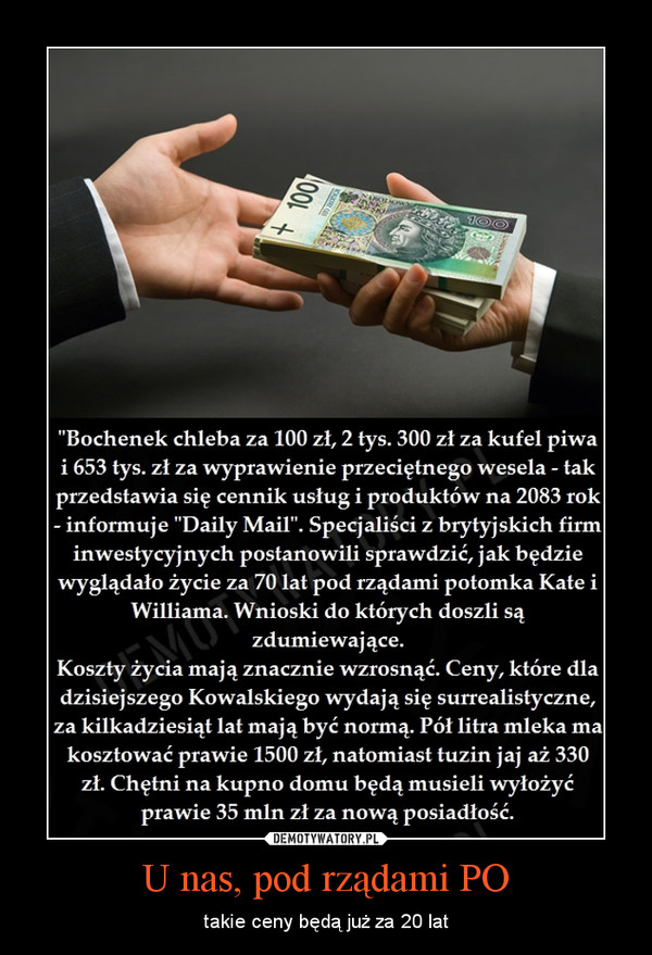 U nas, pod rządami PO – takie ceny będą już za 20 lat