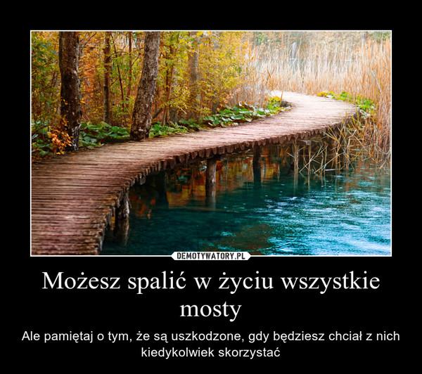 Możesz spalić w życiu wszystkie mosty – Ale pamiętaj o tym, że są uszkodzone, gdy będziesz chciał z nich kiedykolwiek skorzystać
