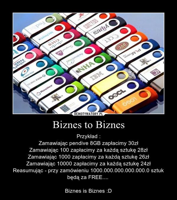 Biznes to Biznes – Przykład :Zamawiając pendive 8GB zapłacimy 30złZamawiając 100 zapłacimy za każdą sztukę 28złZamawiając 1000 zapłacimy za każdą sztukę 26złZamawiając 10000 zapłacimy za każdą sztukę 24złReasumując - przy zamówieniu 1000.000.000.000.000.0 sztuk będą za FREE.... Biznes is Biznes :D