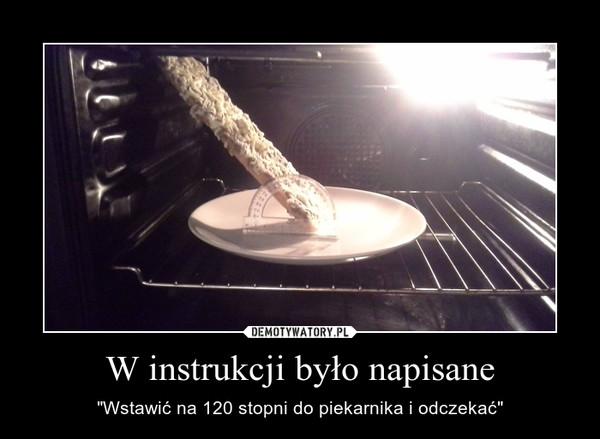 """W instrukcji było napisane – """"Wstawić na 120 stopni do piekarnika i odczekać"""""""