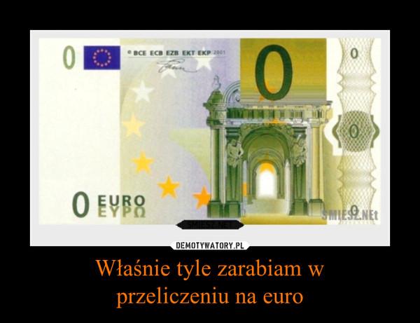 Właśnie tyle zarabiam wprzeliczeniu na euro –
