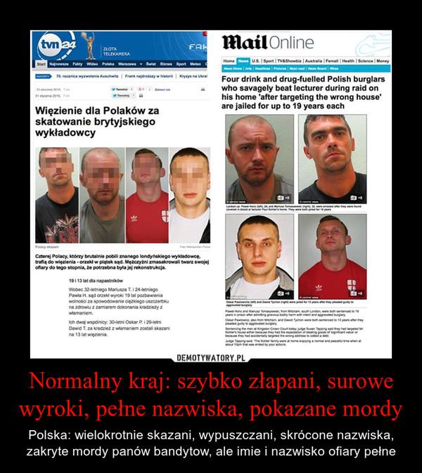 Normalny kraj: szybko złapani, surowe wyroki, pełne nazwiska, pokazane mordy – Polska: wielokrotnie skazani, wypuszczani, skrócone nazwiska, zakryte mordy panów bandytow, ale imie i nazwisko ofiary pełne