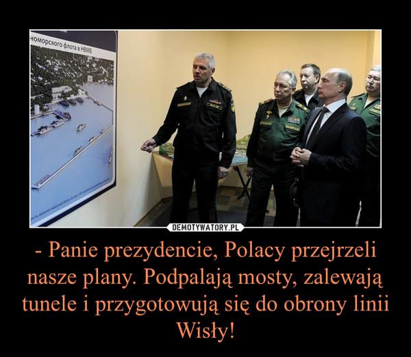 - Panie prezydencie, Polacy przejrzeli nasze plany. Podpalają mosty, zalewają tunele i przygotowują się do obrony linii Wisły! –