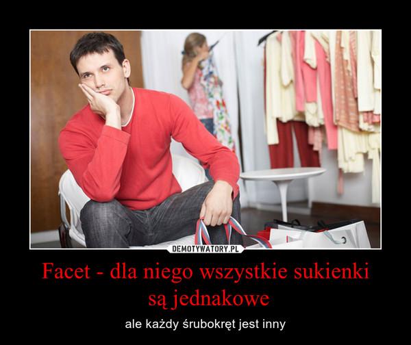Facet - dla niego wszystkie sukienki są jednakowe – ale każdy śrubokręt jest inny