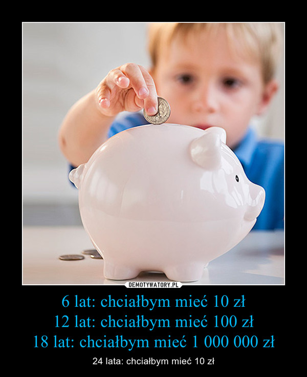 6 lat: chciałbym mieć 10 zł12 lat: chciałbym mieć 100 zł18 lat: chciałbym mieć 1 000 000 zł – 24 lata: chciałbym mieć 10 zł
