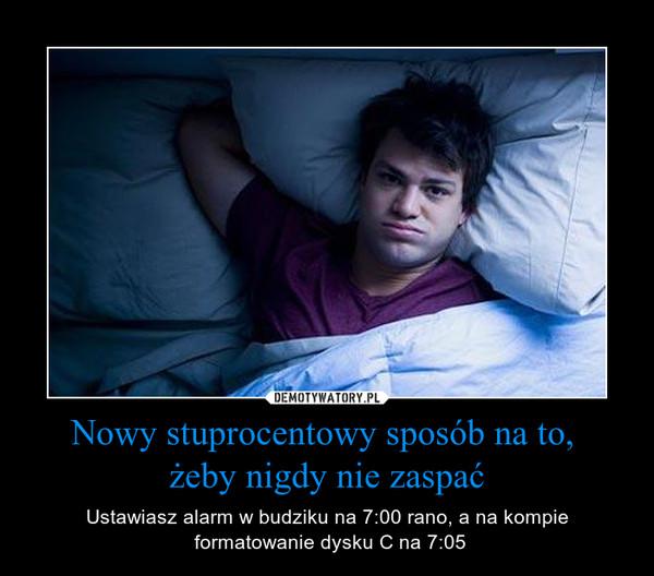 Nowy stuprocentowy sposób na to, żeby nigdy nie zaspać – Ustawiasz alarm w budziku na 7:00 rano, a na kompie formatowanie dysku C na 7:05