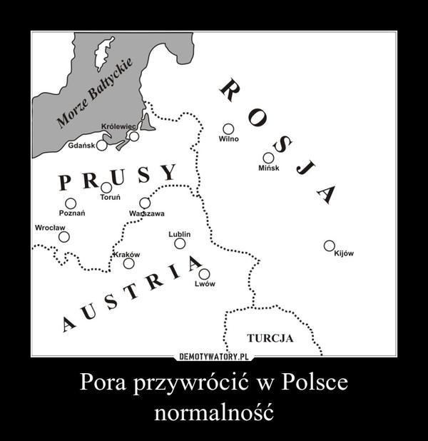 Pora przywrócić w Polsce normalność –
