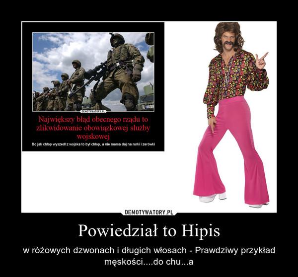 Powiedział to Hipis – w różowych dzwonach i długich włosach - Prawdziwy przykład męskości....do chu...a