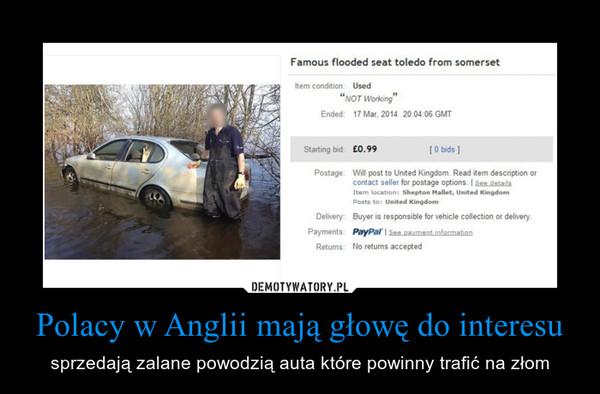 Polacy w Anglii mają głowę do interesu – sprzedają zalane powodzią auta które powinny trafić na złom