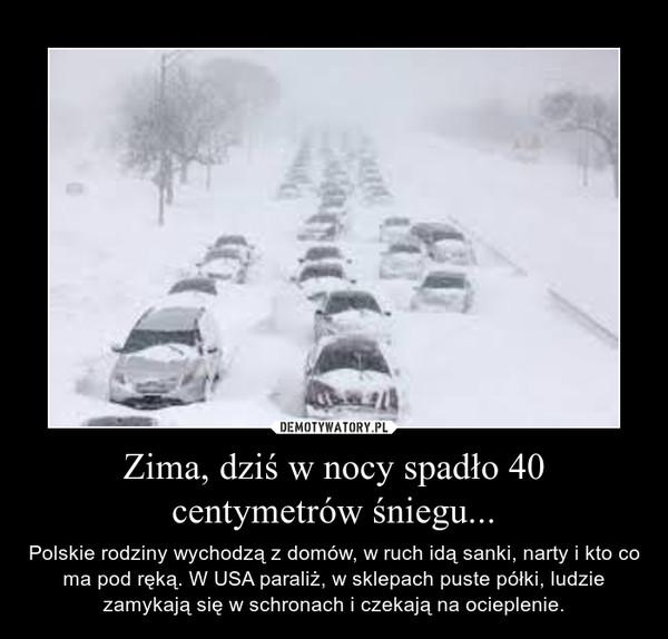 Zima, dziś w nocy spadło 40 centymetrów śniegu... – Polskie rodziny wychodzą z domów, w ruch idą sanki, narty i kto co ma pod ręką. W USA paraliż, w sklepach puste półki, ludzie zamykają się w schronach i czekają na ocieplenie.