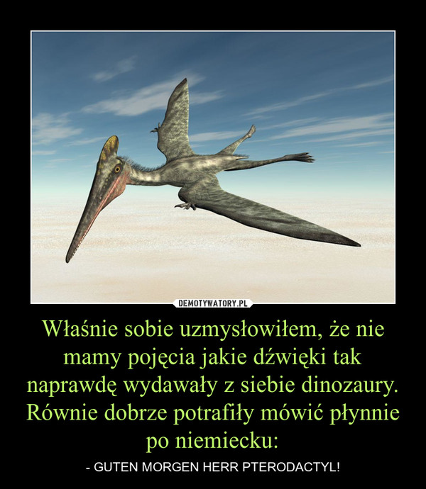 Właśnie sobie uzmysłowiłem, że nie mamy pojęcia jakie dźwięki tak naprawdę wydawały z siebie dinozaury. Równie dobrze potrafiły mówić płynnie po niemiecku: – - GUTEN MORGEN HERR PTERODACTYL!