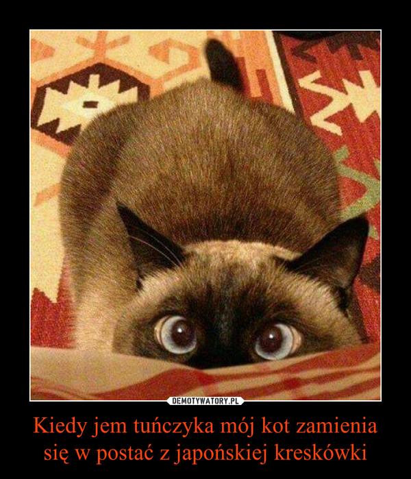 Kiedy jem tuńczyka mój kot zamienia się w postać z japońskiej kreskówki –