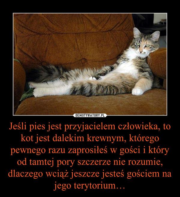 Jeśli pies jest przyjacielem człowieka, to kot jest dalekim krewnym, którego pewnego razu zaprosiłeś w gości i który od tamtej pory szczerze nie rozumie, dlaczego wciąż jeszcze jesteś gościem na jego terytorium… –