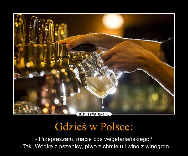 Gdzieś w Polsce: – - Przepraszam, macie coś wegetariańskiego?- Tak. Wódkę z pszenicy, piwo z chmielu i wino z winogron