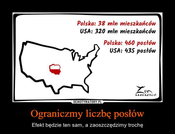 Ograniczmy liczbę posłów – Efekt będzie ten sam, a zaoszczędzimy trochę Polska: 38 mln mieszkańcówUSA: 320 mln mieszkańcówPolska: 960 posłówUSA: 435 posłów