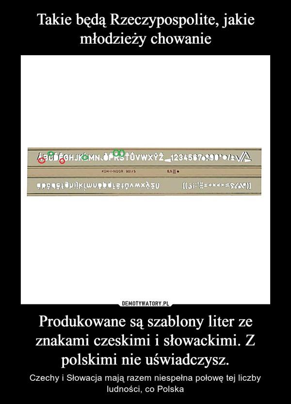 Produkowane są szablony liter ze znakami czeskimi i słowackimi. Z polskimi nie uświadczysz. – Czechy i Słowacja mają razem niespełna połowę tej liczby ludności, co Polska