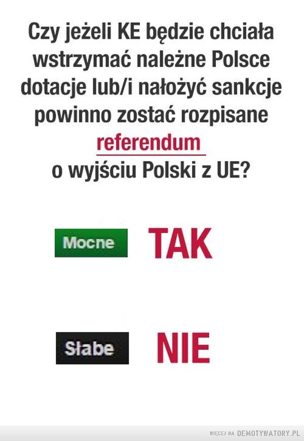 Wyraź swoje zdanie –  Czy jeżeli KE będzie chciała wstrzymać należne Polsce dotacje lub/i nałożyć sankcje powinno zostać rozpisane referendum  o wyjściu Polski z UE? Mocne Słabe TAK NIE