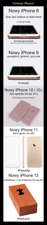 –  Nowy iPhone 8Teraz bez wejścia na ładowarkę*a i tak go kupisz#zmieniamyswiatzestaw nie zawiera ładowarki bezprzewodowejNowy iPhone 9usunęliśmy głośniki i przycisk#odwagaNowy iPhone 10 i 10+bez aparatu bo po ch*j#stevejobsprzewracasiewgrobieNowy iPhone 11jeb*ć ekran, lol xDD#hasztagNowy iPhone 12ZAPIERDALAJ DO STARYCH PO HAJS!!!#itakkupio