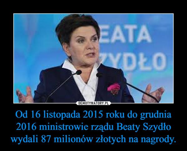 Od 16 listopada 2015 roku do grudnia 2016 ministrowie rządu Beaty Szydło wydali 87 milionów złotych na nagrody. –
