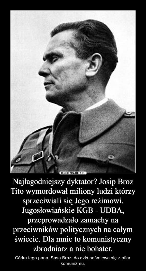 Najłagodniejszy dyktator? Josip Broz Tito wymordował miliony ludzi którzy sprzeciwiali się Jego reżimowi. Jugosłowiańskie KGB - UDBA, przeprowadzało zamachy na przeciwników politycznych na całym świecie. Dla mnie to komunistyczny zbrodniarz a nie bohater. – Córka tego pana, Sasa Broz, do dziś naśmiewa się z ofiar komunizmu.