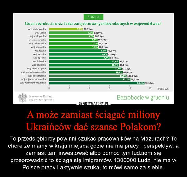 A może zamiast ściągać miliony Ukraińców dać szanse Polakom? – To przedsiębiorcy powinni szukać pracowników na Mazurach? To chore że mamy w kraju miejsca gdzie nie ma pracy i perspektyw, a zamiast tam inwestować albo pomóc tym ludziom się przeprowadzić to ściąga się imigrantów. 1300000 Ludzi nie ma w Polsce pracy i aktywnie szuka, to mówi samo za siebie.