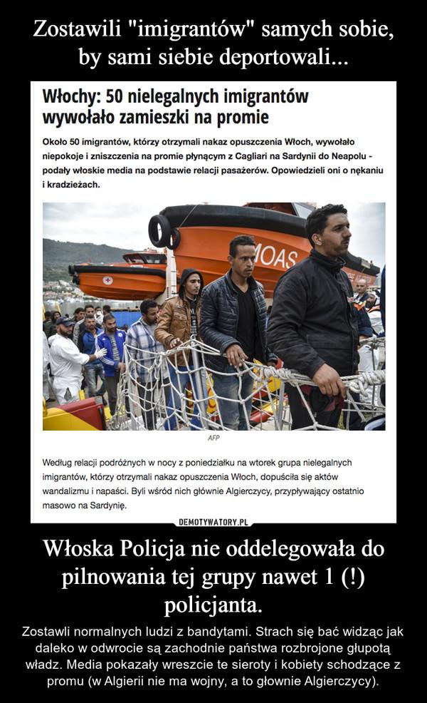 Włoska Policja nie oddelegowała do pilnowania tej grupy nawet 1 (!) policjanta. – Zostawli normalnych ludzi z bandytami. Strach siębać widząc jak daleko w odwrocie są zachodnie państwa rozbrojone głupotą władz. Media pokazały wreszcie te sieroty i kobiety schodzące z promu (w Algierii nie ma wojny, a to głownie Algierczycy).