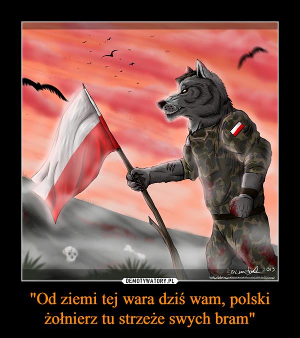 """""""Od ziemi tej wara dziś wam, polski żołnierz tu strzeże swych bram"""" –"""