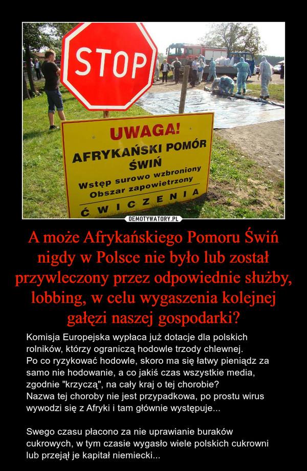 """A może Afrykańskiego Pomoru Świń nigdy w Polsce nie było lub został przywleczony przez odpowiednie służby, lobbing, w celu wygaszenia kolejnej gałęzi naszej gospodarki? – Komisja Europejska wypłaca już dotacje dla polskich rolników, którzy ograniczą hodowle trzody chlewnej.Po co ryzykować hodowle, skoro ma się łatwy pieniądz za samo nie hodowanie, a co jakiś czas wszystkie media, zgodnie """"krzyczą"""", na cały kraj o tej chorobie?Nazwa tej choroby nie jest przypadkowa, po prostu wirus wywodzi się z Afryki i tam głównie występuje...Swego czasu płacono za nie uprawianie buraków cukrowych, w tym czasie wygasło wiele polskich cukrowni lub przejął je kapitał niemiecki..."""
