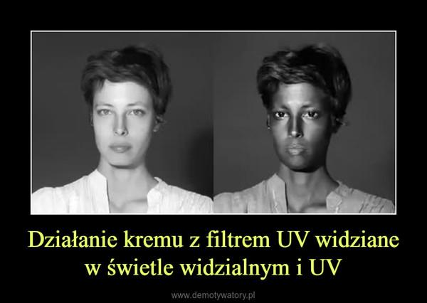 Działanie kremu z filtrem UV widziane w świetle widzialnym i UV –
