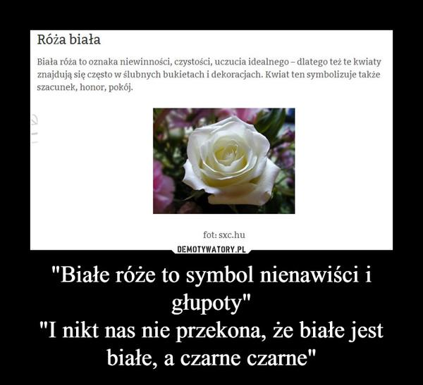 """""""Białe róże to symbol nienawiści i głupoty""""""""I nikt nas nie przekona, że białe jest białe, a czarne czarne"""" –"""