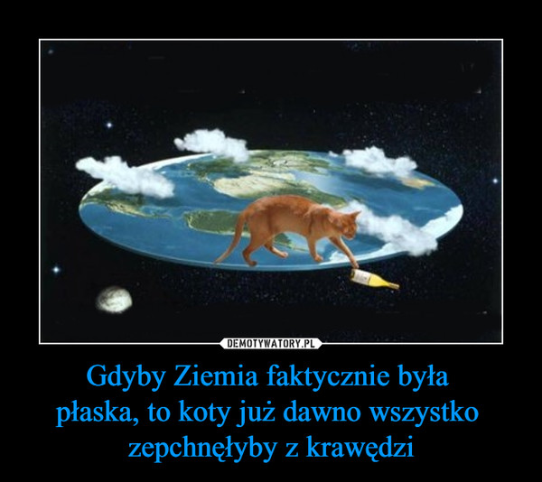 Gdyby Ziemia faktycznie była płaska, to koty już dawno wszystko zepchnęłyby z krawędzi –
