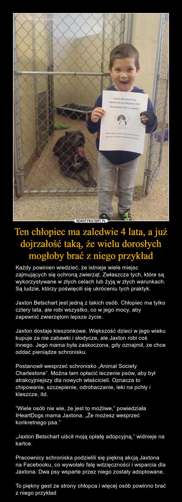 """Ten chłopiec ma zaledwie 4 lata, a już dojrzałość taką, że wielu dorosłych mogłoby brać z niego przykład – Każdy powinien wiedzieć, że istnieje wiele miejsc zajmujących się ochroną zwierząt. Zwłaszcza tych, które są wykorzystywane w złych celach lub żyją w złych warunkach. Są ludzie, którzy poświęcili się ukróceniu tych praktyk.Jaxton Betschart jest jedną z takich osób. Chłopiec ma tylko cztery lata, ale robi wszystko, co w jego mocy, aby zapewnić zwierzętom lepsze życie.Jaxton dostaje kieszonkowe. Większość dzieci w jego wieku kupuje za nie zabawki i słodycze, ale Jaxton robi coś innego. Jego mama była zaskoczona, gdy oznajmił, ze chce oddać pieniądze schronisku.Postanowił wesprzeć schronisko """"Animal Society Charlestone"""". Można tam opłacić leczenie psów, aby był atrakcyjniejszy dla nowych właścicieli. Oznacza to chipowanie, szczepienie, odrobaczanie, leki na pchły i kleszcze, itd.""""Wiele osób nie wie, że jest to możliwe,"""" powiedziała IHeartDogs mama Jaxtona. """"Że możesz wesprzeć konkretnego psa.""""""""Jaxton Betschart uiścił moją opłatę adopcyjną,"""" widnieje na kartce.Pracownicy schroniska podzielili się piękną akcją Jaxtona na Facebooku, co wywołało falę wdzięczności i wsparcia dla Jaxtona. Dwa psy wsparte przez niego zostały adoptowane.To piękny gest ze strony chłopca i więcej osób powinno brać z niego przykład"""