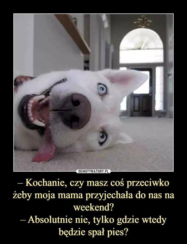 – Kochanie, czy masz coś przeciwko żeby moja mama przyjechała do nas na weekend?– Absolutnie nie, tylko gdzie wtedy będzie spał pies? –