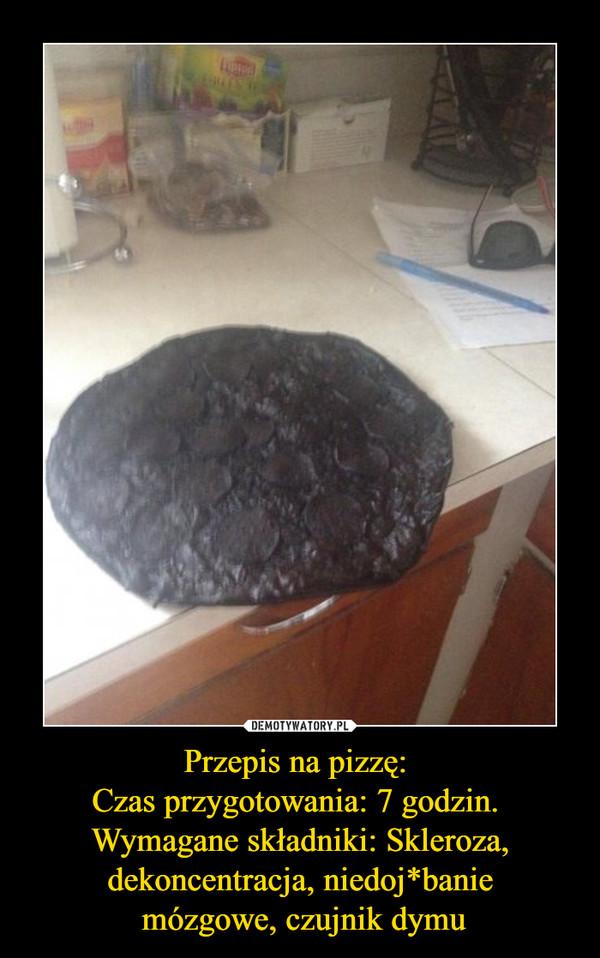 Przepis na pizzę: Czas przygotowania: 7 godzin. Wymagane składniki: Skleroza, dekoncentracja, niedoj*banie mózgowe, czujnik dymu –