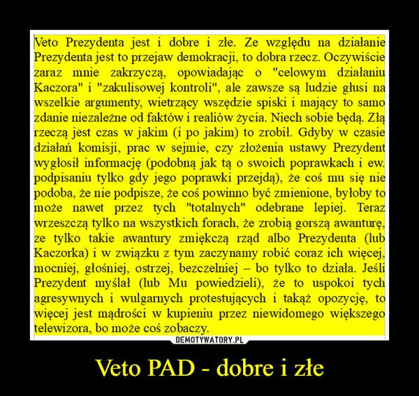 Veto PAD - dobre i złe –