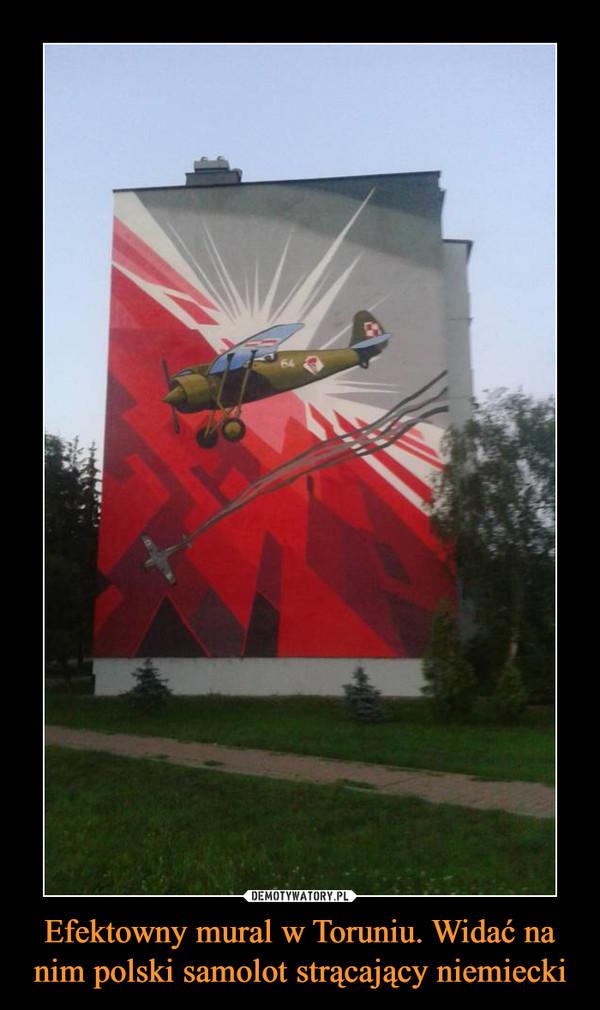 Efektowny mural w Toruniu. Widać na nim polski samolot strącający niemiecki –