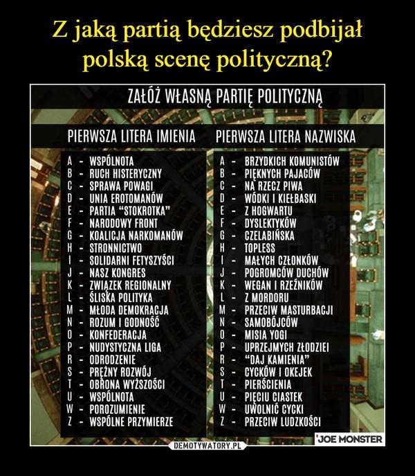 –  załóż własną partię politycznąpierwsza litera imienia nazwiska