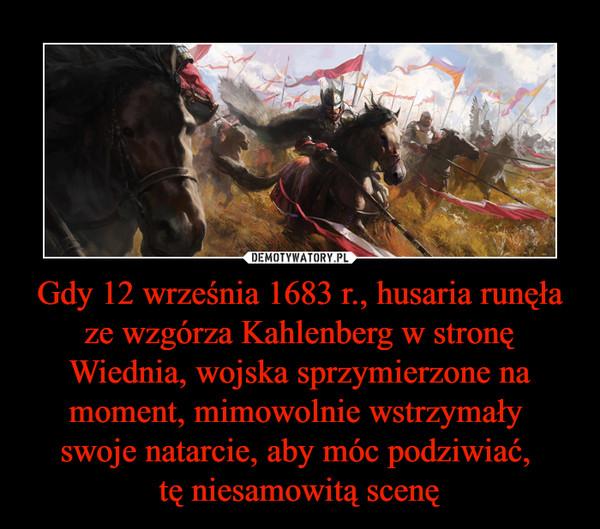 Gdy 12 września 1683 r., husaria runęła ze wzgórza Kahlenberg w stronę Wiednia, wojska sprzymierzone na moment, mimowolnie wstrzymały swoje natarcie, aby móc podziwiać, tę niesamowitą scenę –
