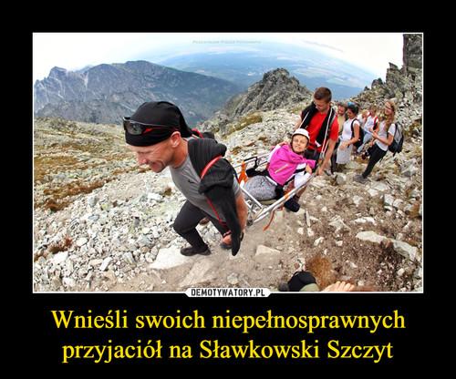 Wnieśli swoich niepełnosprawnych przyjaciół na Sławkowski Szczyt