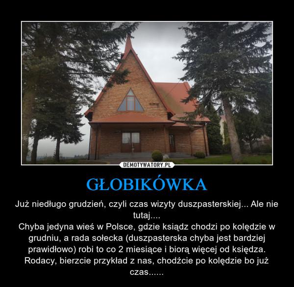 GŁOBIKÓWKA – Już niedługo grudzień, czyli czas wizyty duszpasterskiej... Ale nie tutaj....Chyba jedyna wieś w Polsce, gdzie ksiądz chodzi po kolędzie w grudniu, a rada sołecka (duszpasterska chyba jest bardziej prawidłowo) robi to co 2 miesiące i biorą więcej od księdza.Rodacy, bierzcie przykład z nas, chodźcie po kolędzie bo już czas......